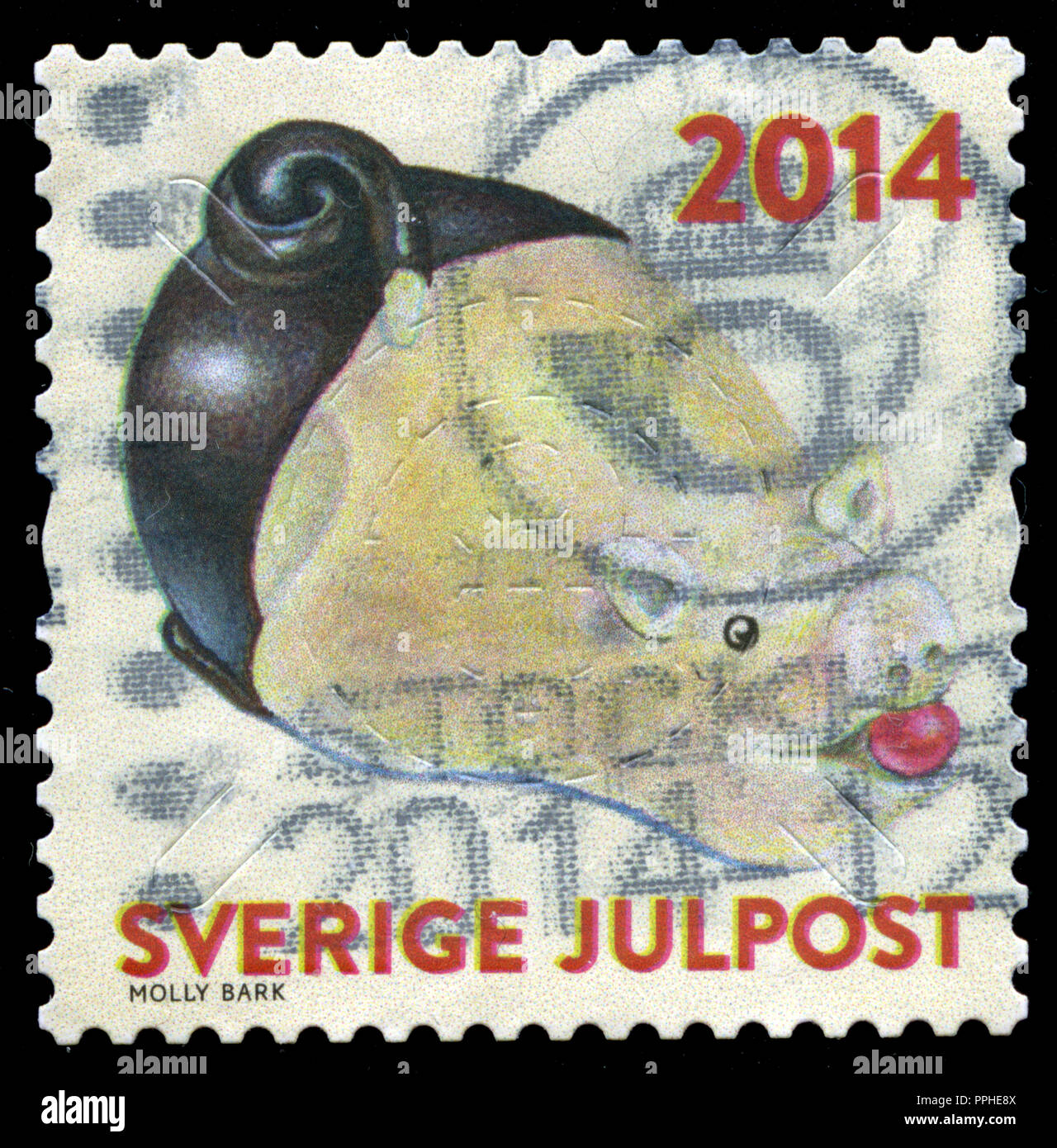 Postmarked stamp from Sweden in the Christmas 2014 series - Stock Image