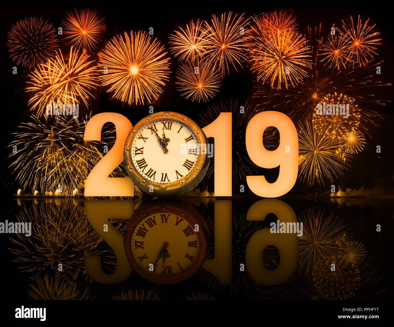 new year 2019 fireworks with clock face Stock Photo