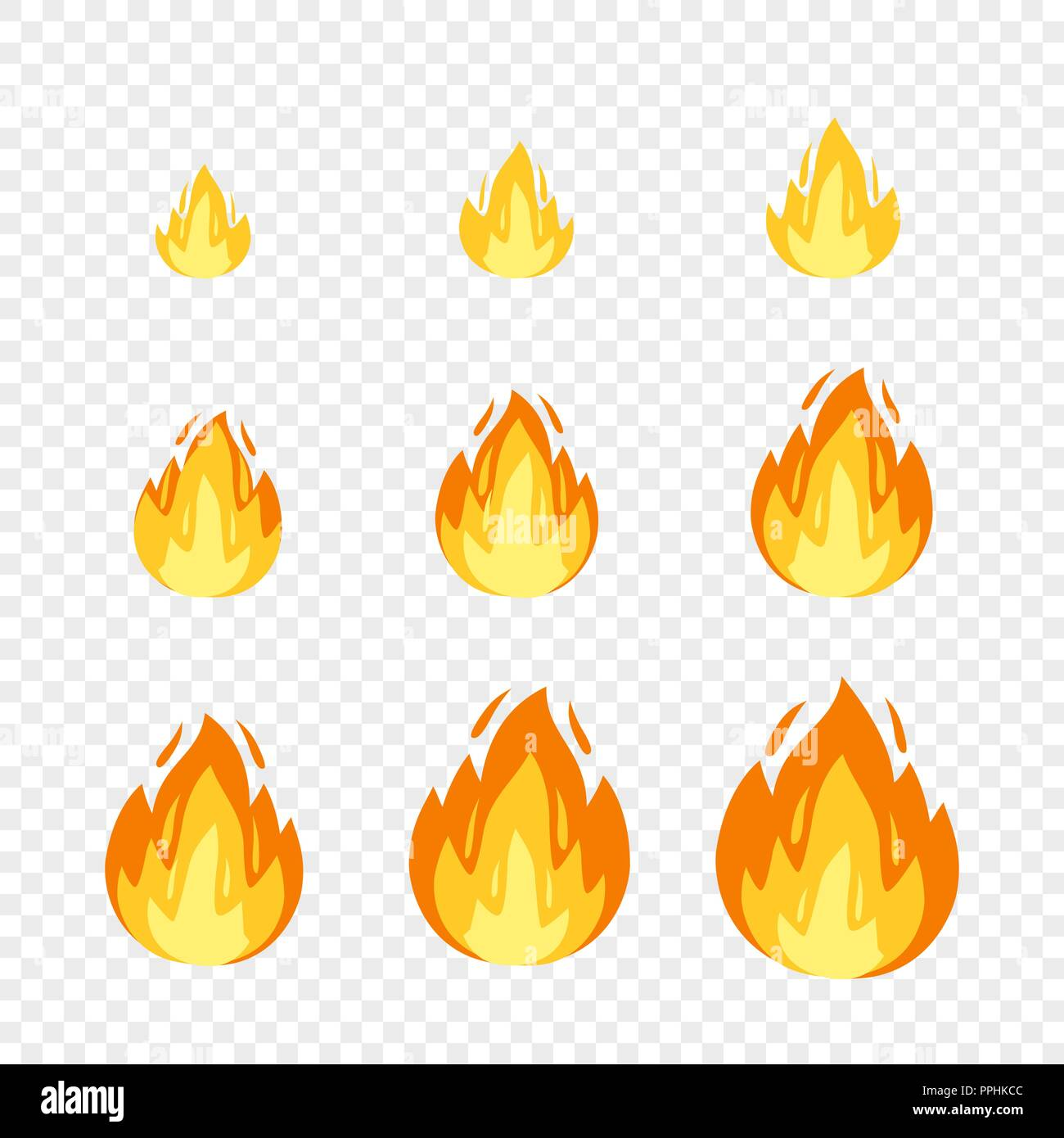 Vector fire sprites illustration for animation frames. Use in game ...