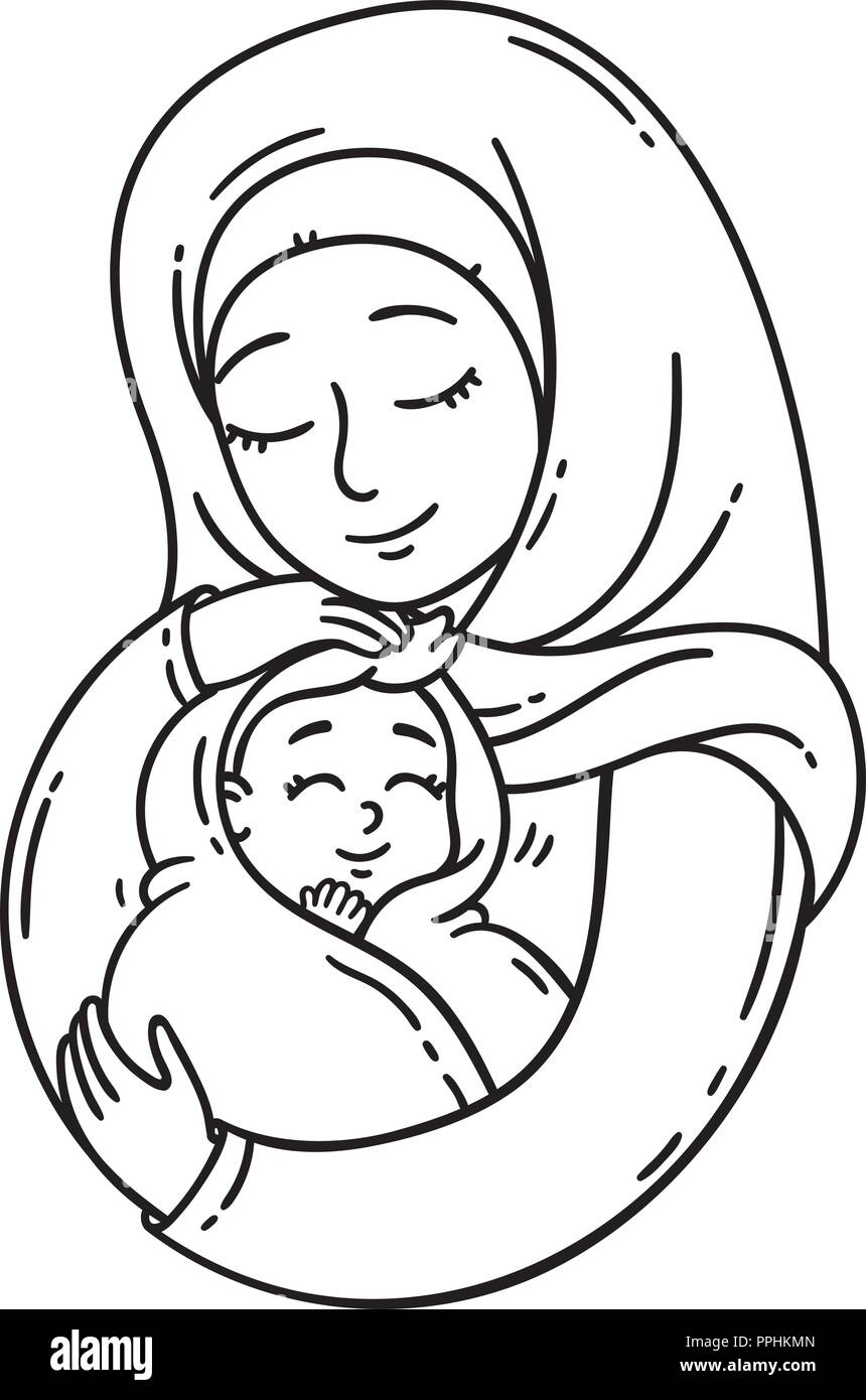 Muslim Mother Holding Baby The Best Mom A Pretty Mother Holds Cute Baby Vector Black And White Illustration Isolated On White Background Coloring Stock Vector Image Art Alamy