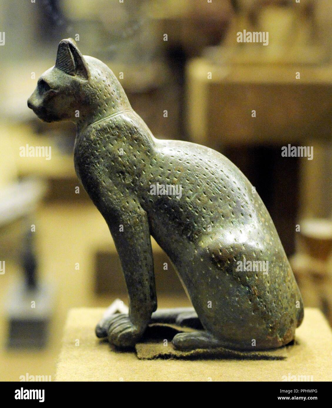 Bronze statue of the goddess Bastet represented as a domesticated cat. The State Hermitage Museum. Saint Petersburg. Russia. Stock Photo