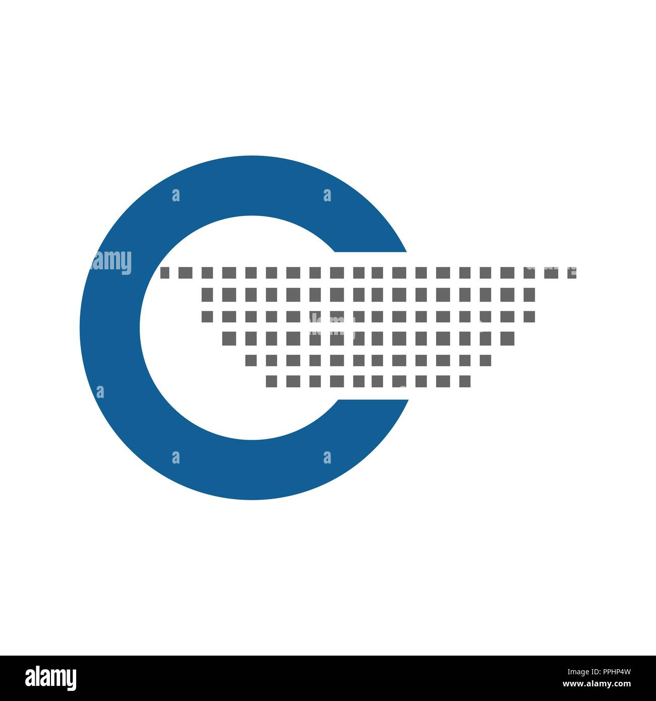 Blue Round Circle Logo Vector Icon - Stock Image