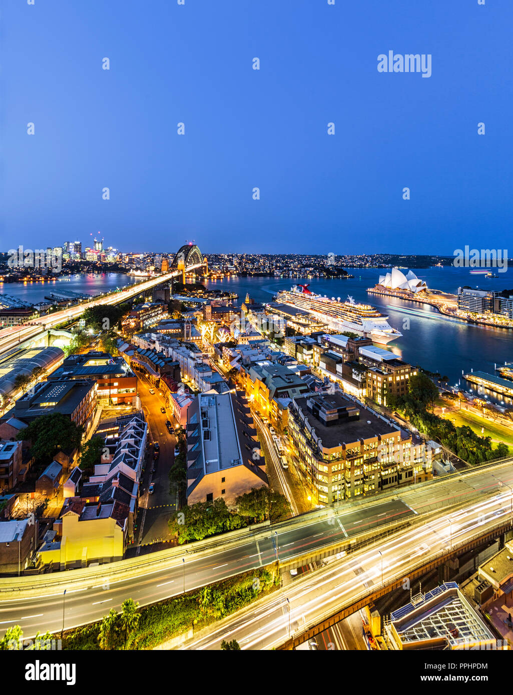 The Cahill Expressway flyover above the Rocks in Sydney, Australia - Stock Image