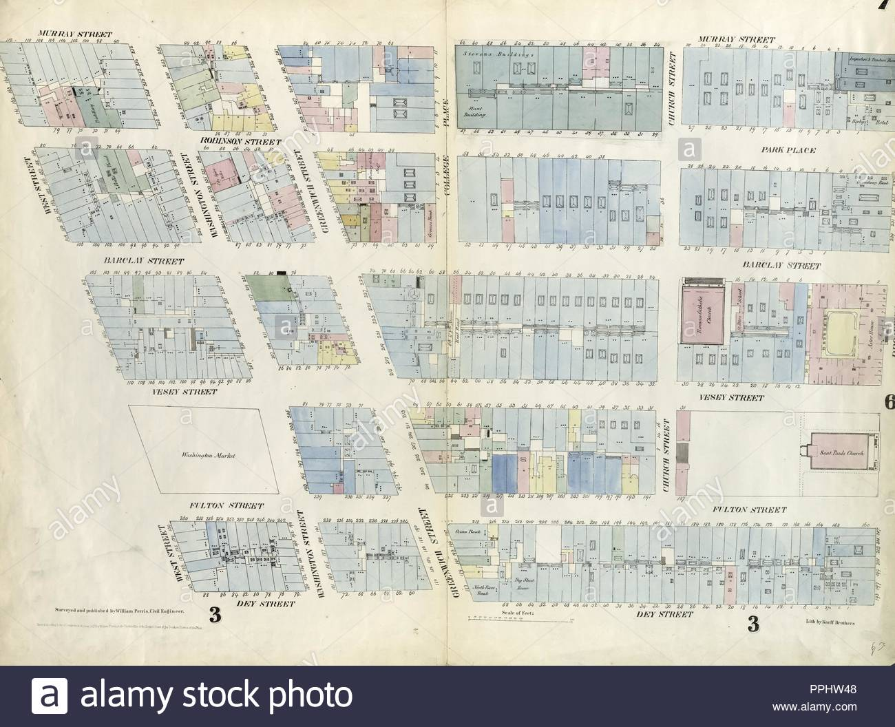 Plate 7 Map Bounded By Murray Street Broadway Dey Street West