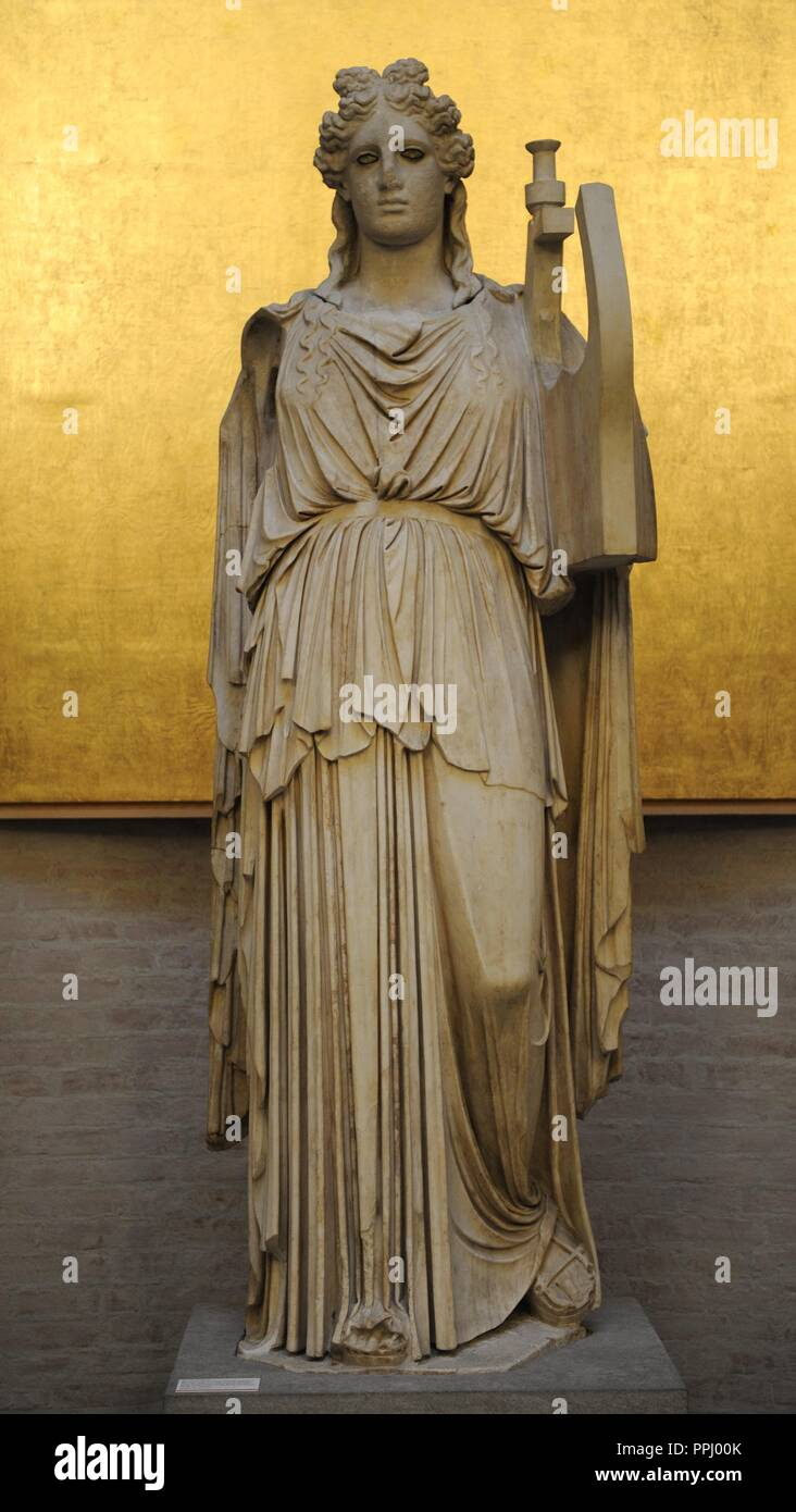 Apollo with lire. Roman sculpture after an original of the classical period. The inset eyes are of marble and the eyelashes of bronze.  Was found in a Roman villa in Tusculum. Glyptothek. Munich. Germany. - Stock Image