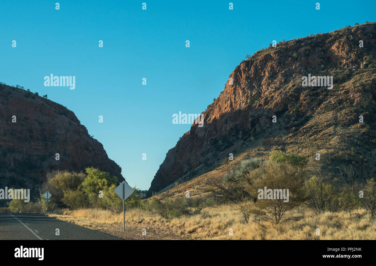 Highway in the West Macdonnell ranges, near Alice Springs, Nothern territory, Australia - Stock Image