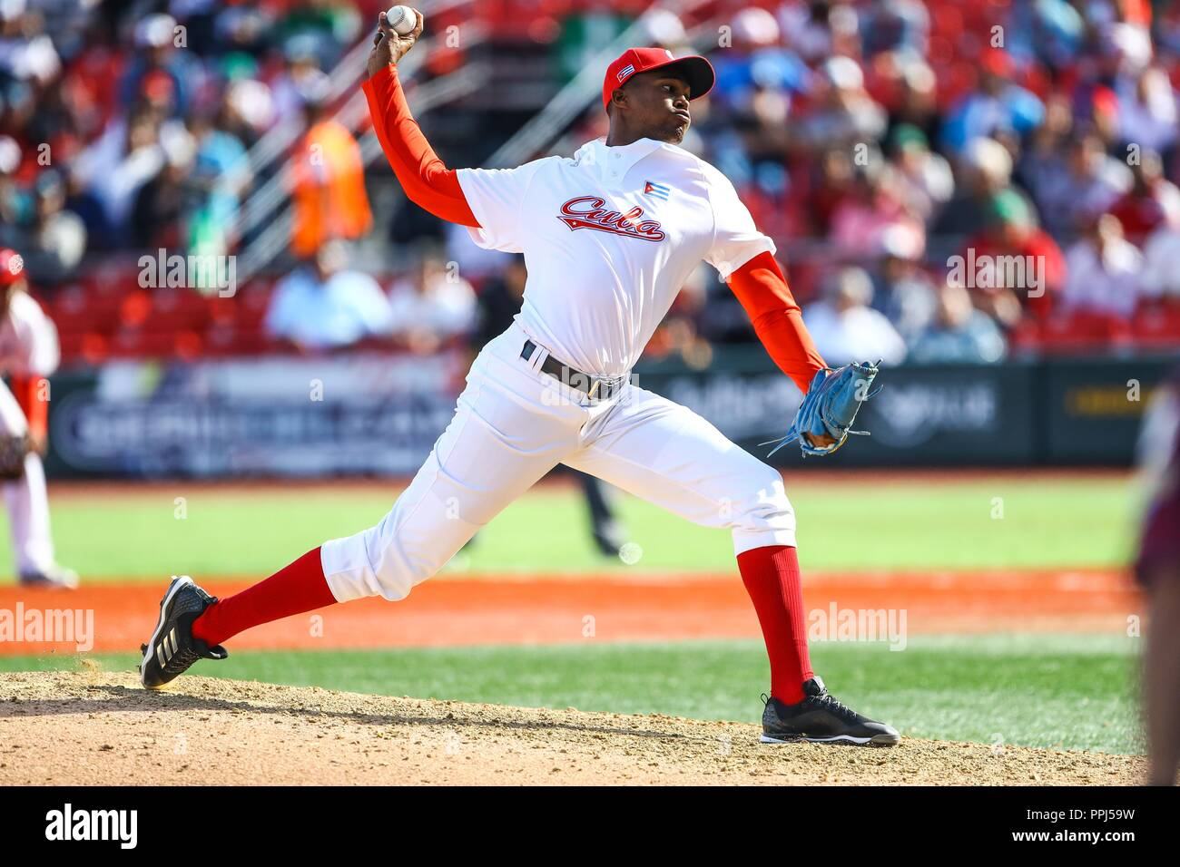 Raidel Martinez pitcher closer of the Alazanes of Granma Cuba, takes the save to win game 6 races by 4, during the baseball game of the Caribbean Seri - Stock Image