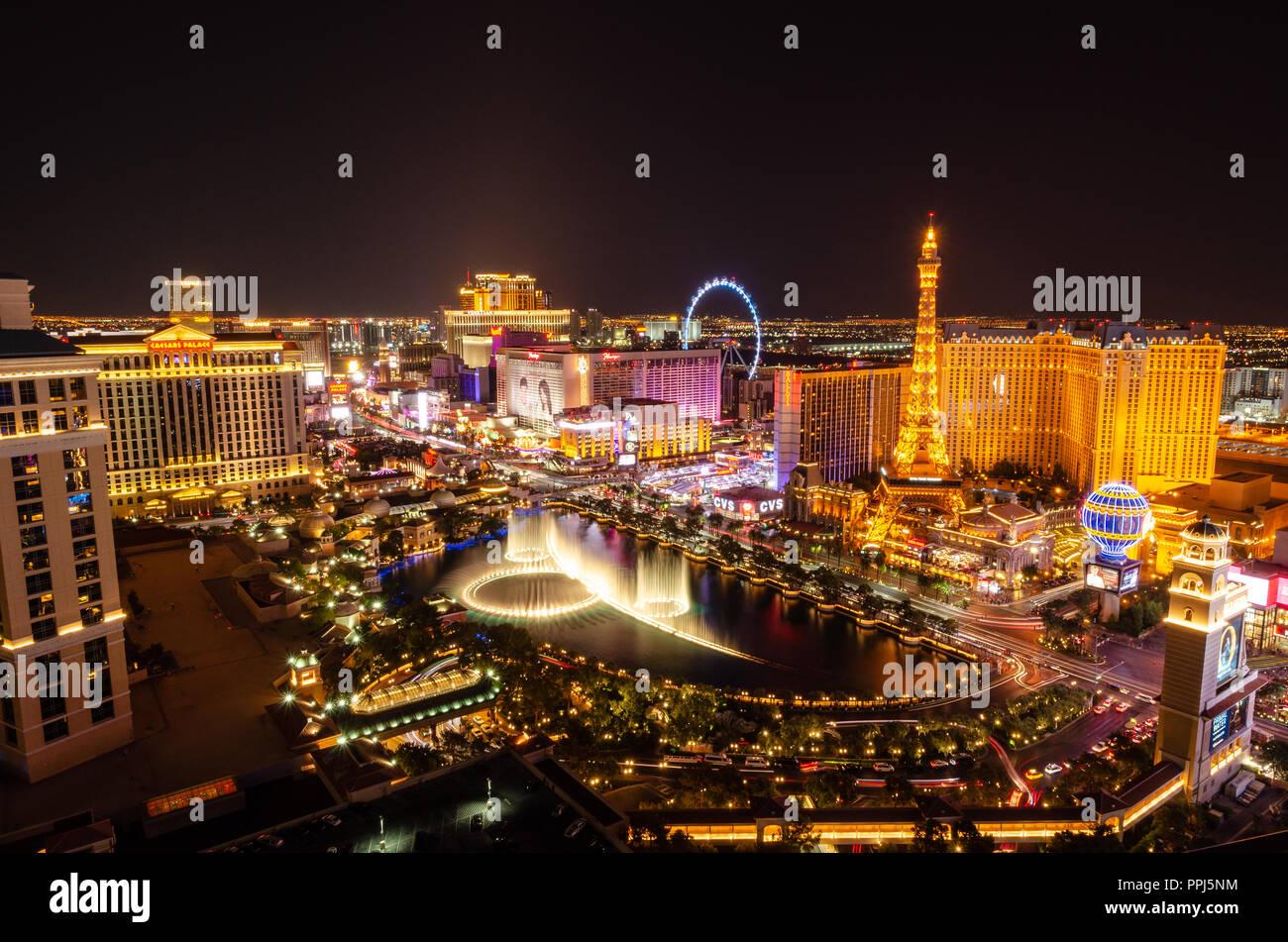 Las Vegas Boulevard & Bellagio Fountains Stock Photo
