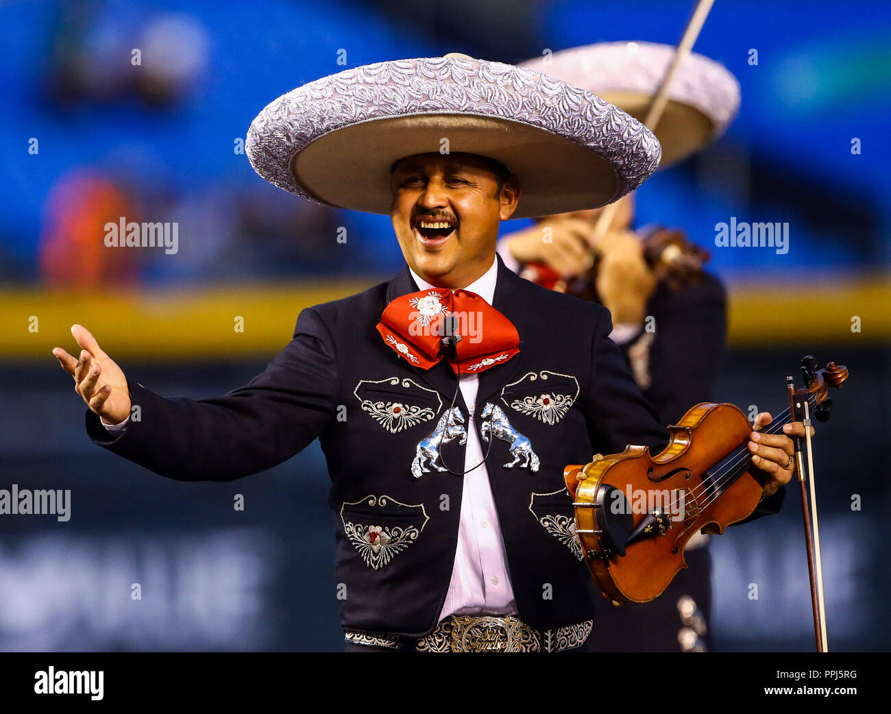 Affected baseball put color and atmosphere in the Charros de Jalisco Stadium, during the matches of teams from Mexico, Cuba, Puerto Rico, Dominican Re - Stock Image