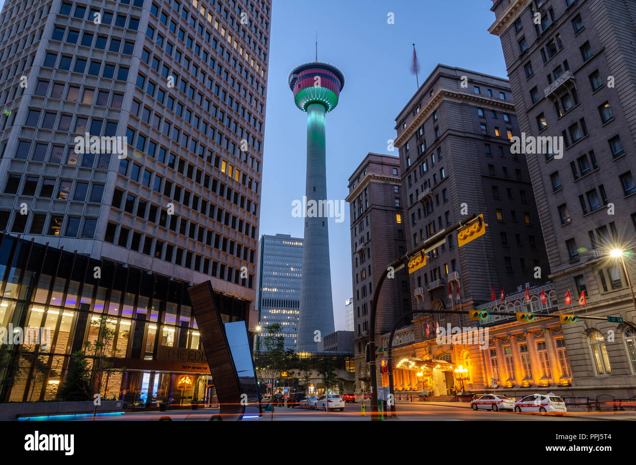 Calgary Tower on 9th Avenue, Calgary - Stock Image