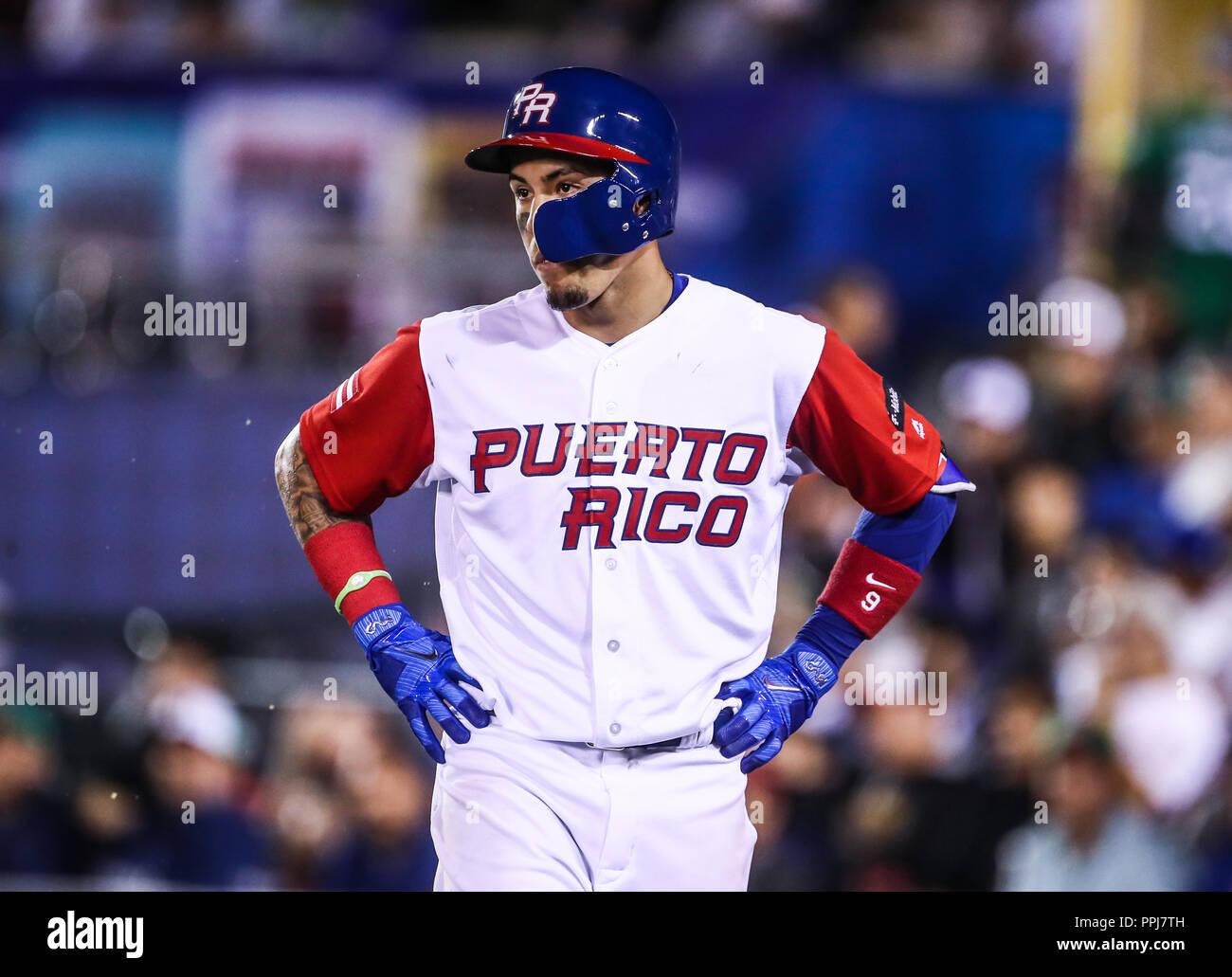 Seth Lugo pitcher inicial de Puerto Rico hace lanzamientos en el primer inning, durante el partido entre Puerto Rico contra Venezuela, World Baseball - Stock Image