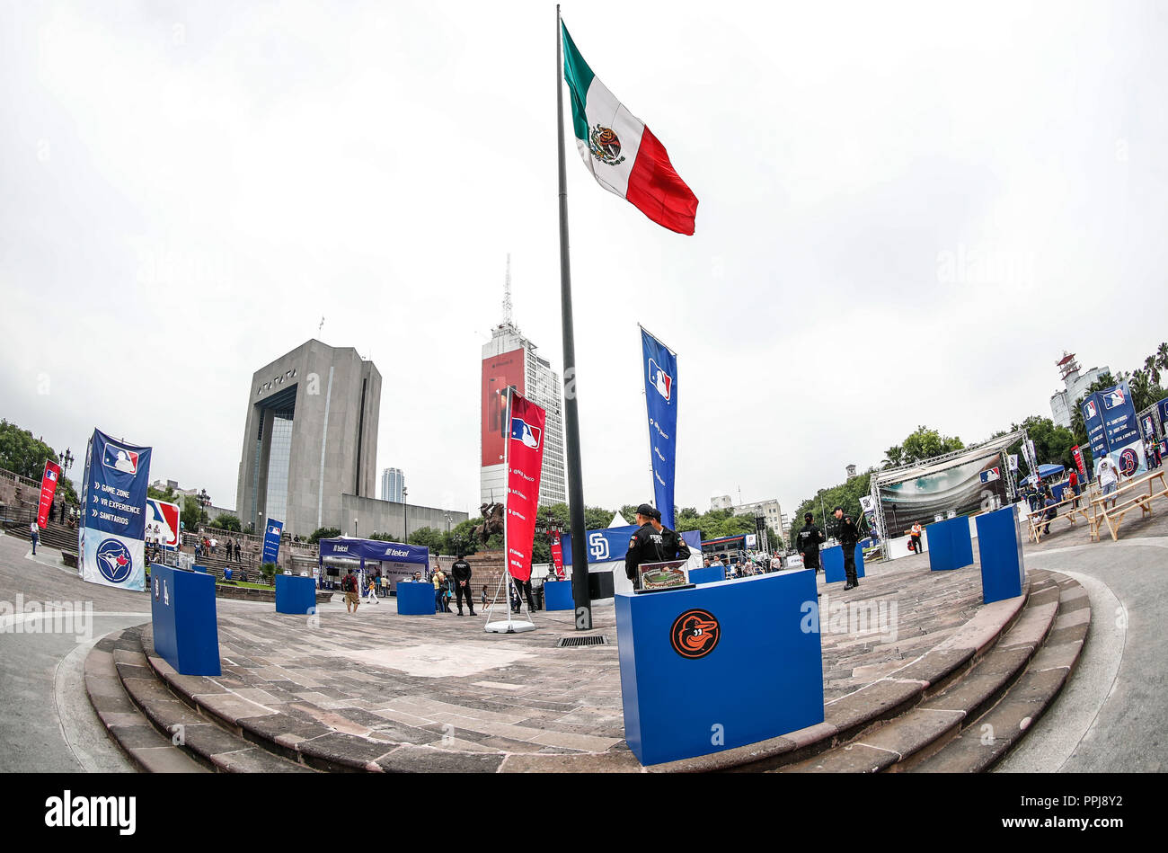 Aspects of the Fan fest of the Major Leagues of Besbol held in the Monumental Plaza of Monterrey Nuevo Leon, prior to the Series in Mexico with the Do - Stock Image