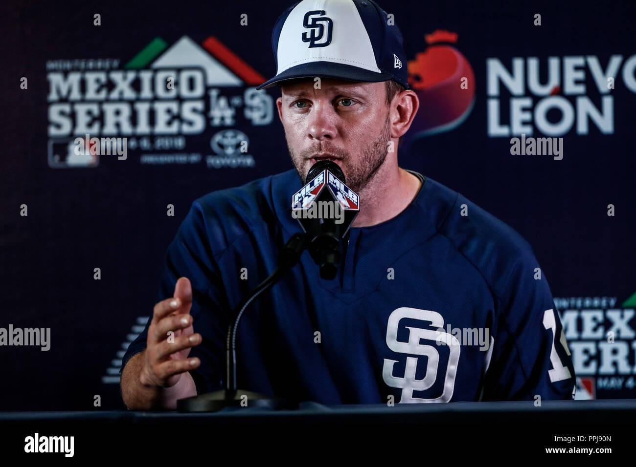 Andy Green, manager de los Padres de San Diego en rueda de prensa, previo al partido de los Dodgers de Los Angeles contra Padres de San Diego, durante - Stock Image