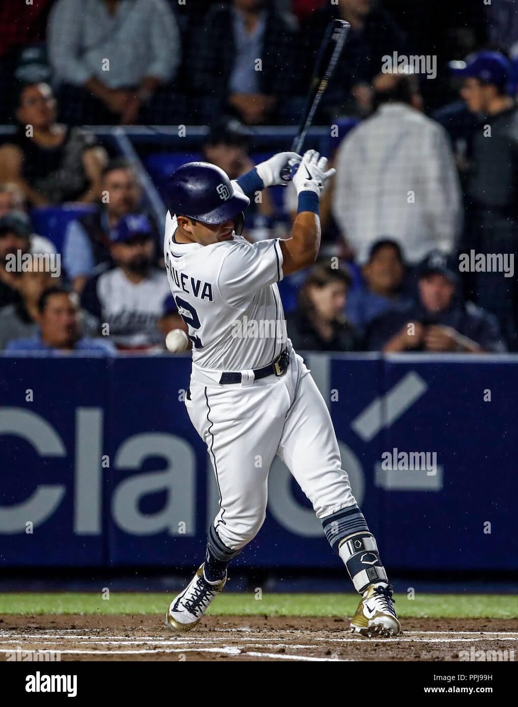 Christian Villanueva de San Diego, durante el partido de beisbol de los Dodgers de Los Angeles contra Padres de San Diego, durante el primer juego de  - Stock Image