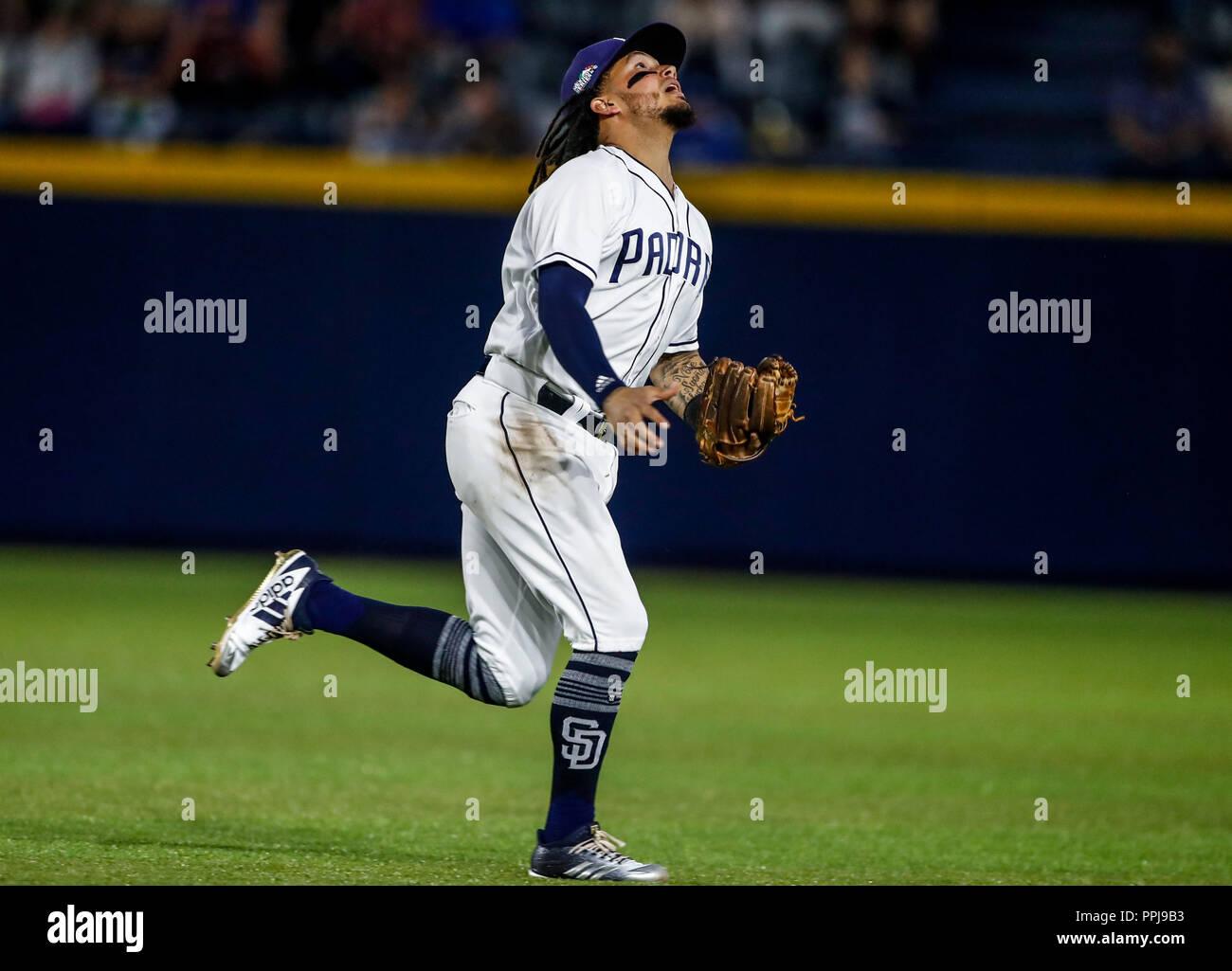 Freddy Galvis de San Diego, durante el partido de beisbol de los Dodgers de Los Angeles contra Padres de San Diego, durante el primer juego de la seri - Stock Image