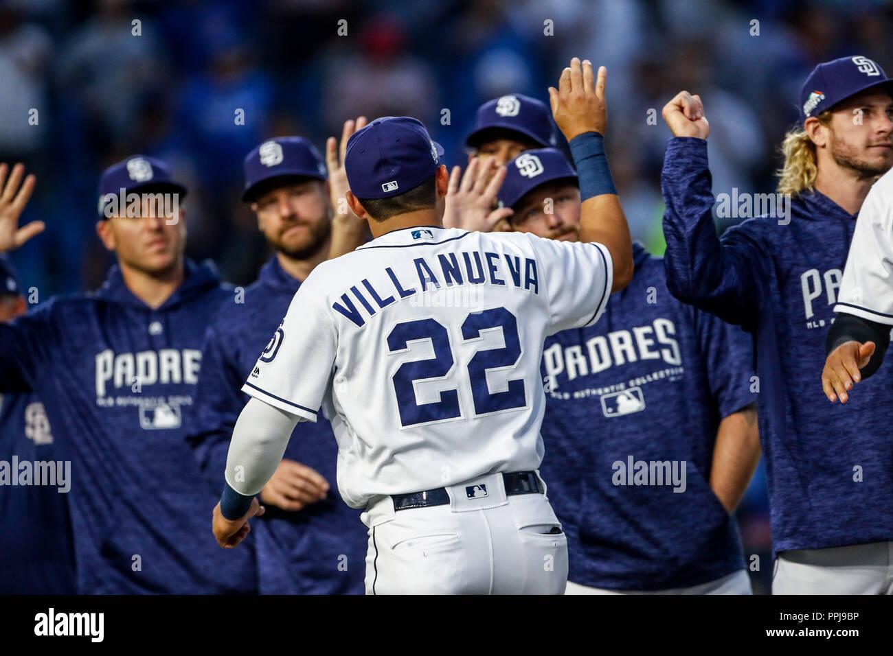 Acciones del partido de beisbol de los Dodgers de Los Angeles contra Padres de San Diego, durante el primer juego de la serie las Ligas Mayores del Be - Stock Image