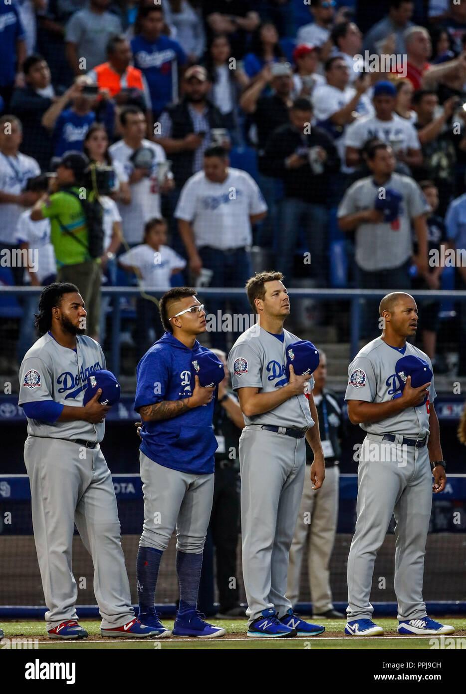 Julio UriasAcciones del partido de beisbol de los Dodgers de Los Angeles contra Padres de San Diego, durante el primer juego de la serie las Ligas May - Stock Image