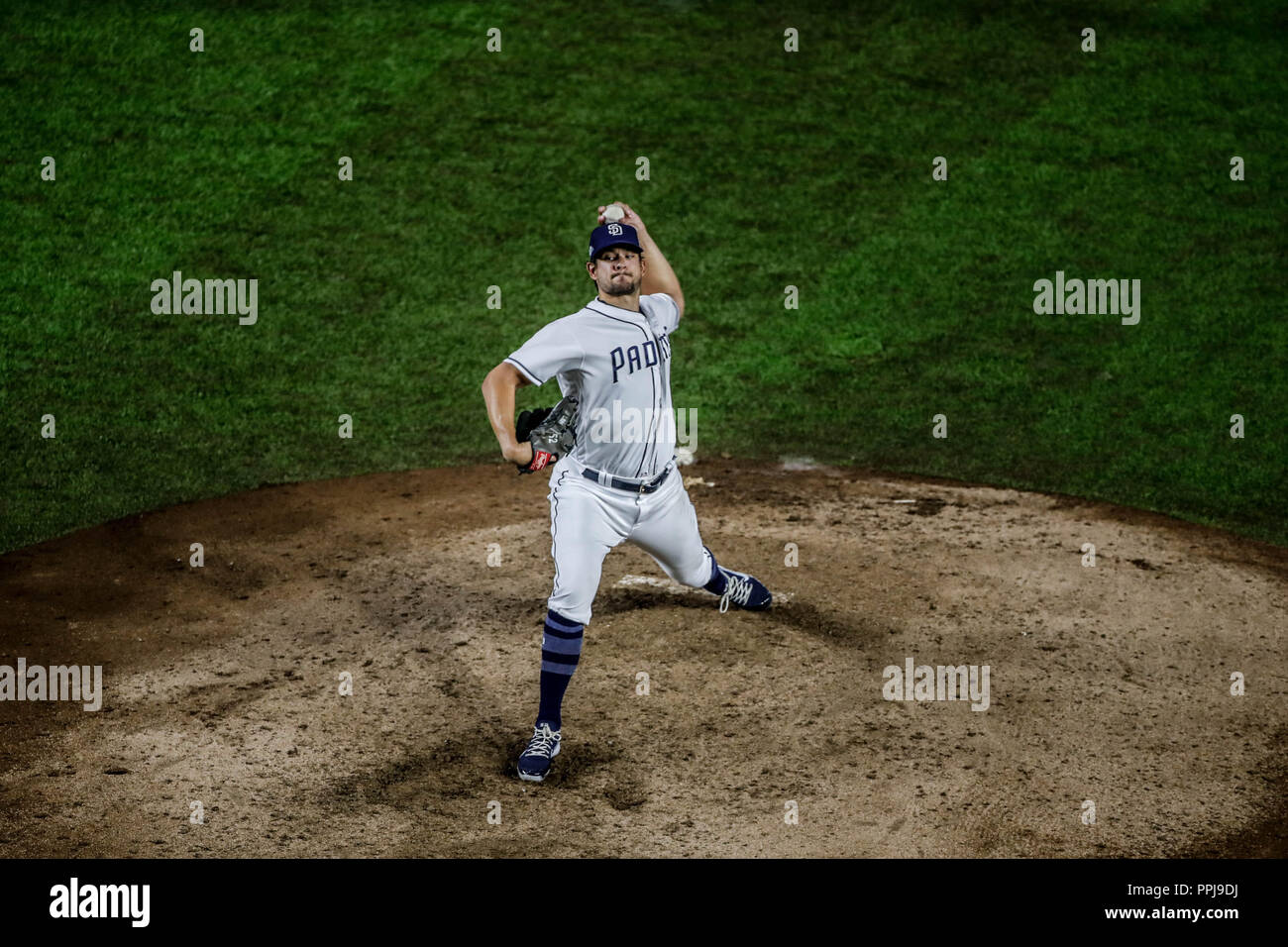 Kazuhisa Makita. Baseball action during the Los Angeles Dodgers game against San Diego Padres, the second game of the Major League Baseball Series in  - Stock Image
