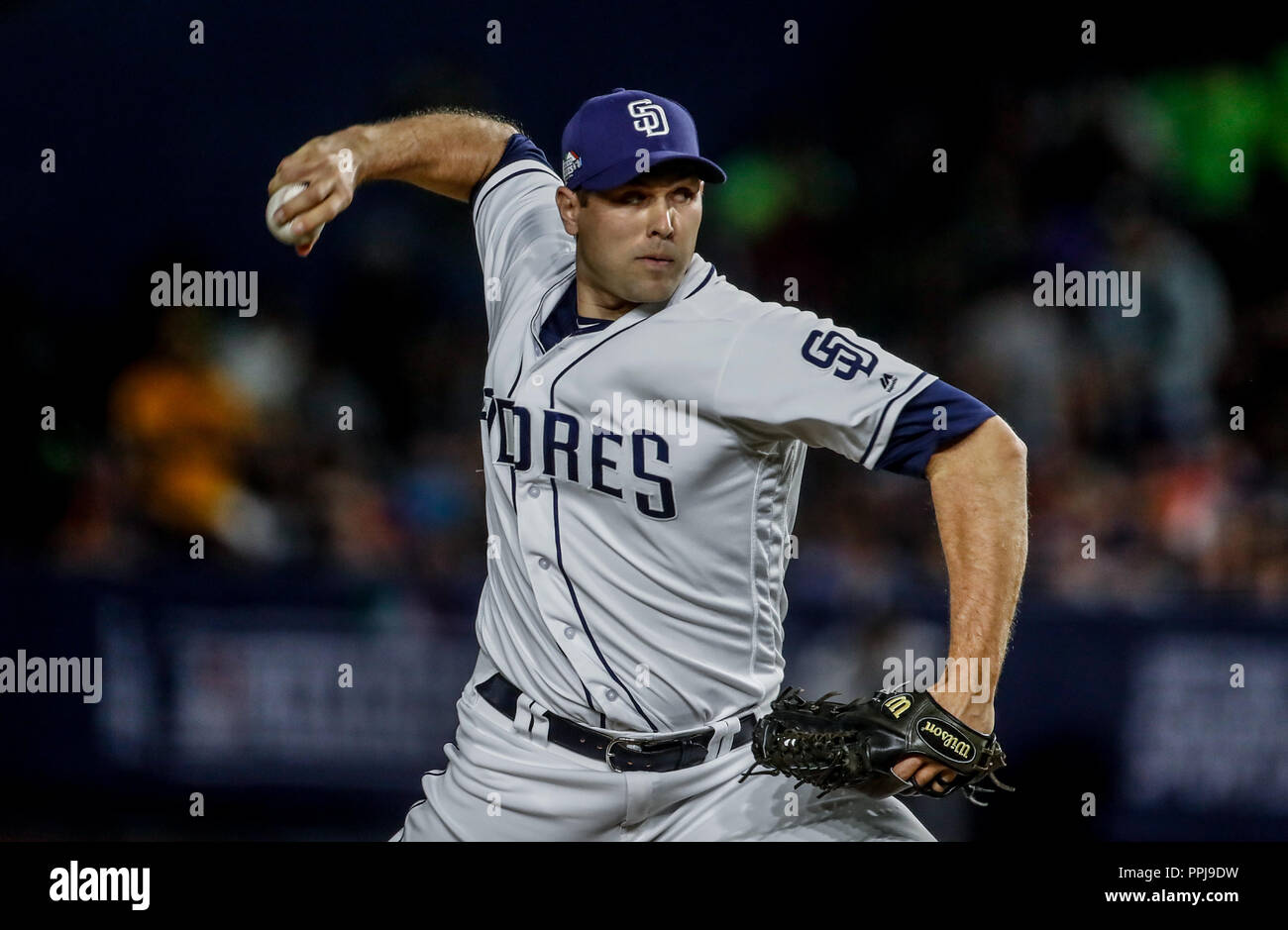 Craig Stammen. Baseball action during the Los Angeles Dodgers game against San Diego Padres, the second game of the Major League Baseball Series in Me - Stock Image