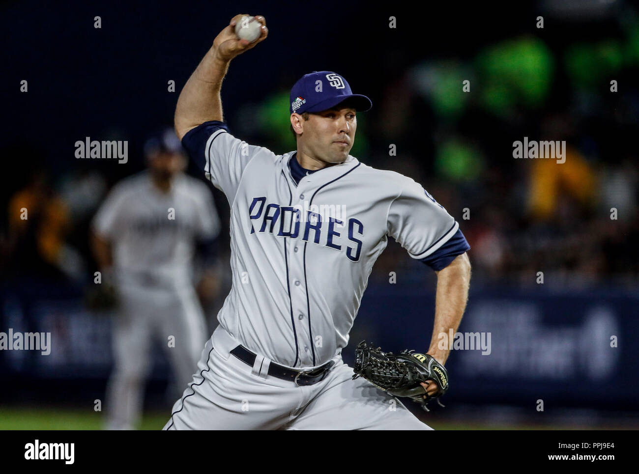 Baseball action during the Los Angeles Dodgers game against San Diego Padres, the second game of the Major League Baseball Series in Mexico, held at t - Stock Image