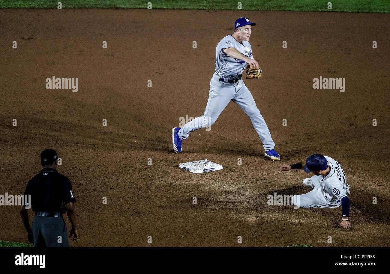 Chase Utley. And Carlos Asuaje .  Baseball action during the Los Angeles Dodgers game against San Diego Padres, the second game of the Major League Ba Stock Photo