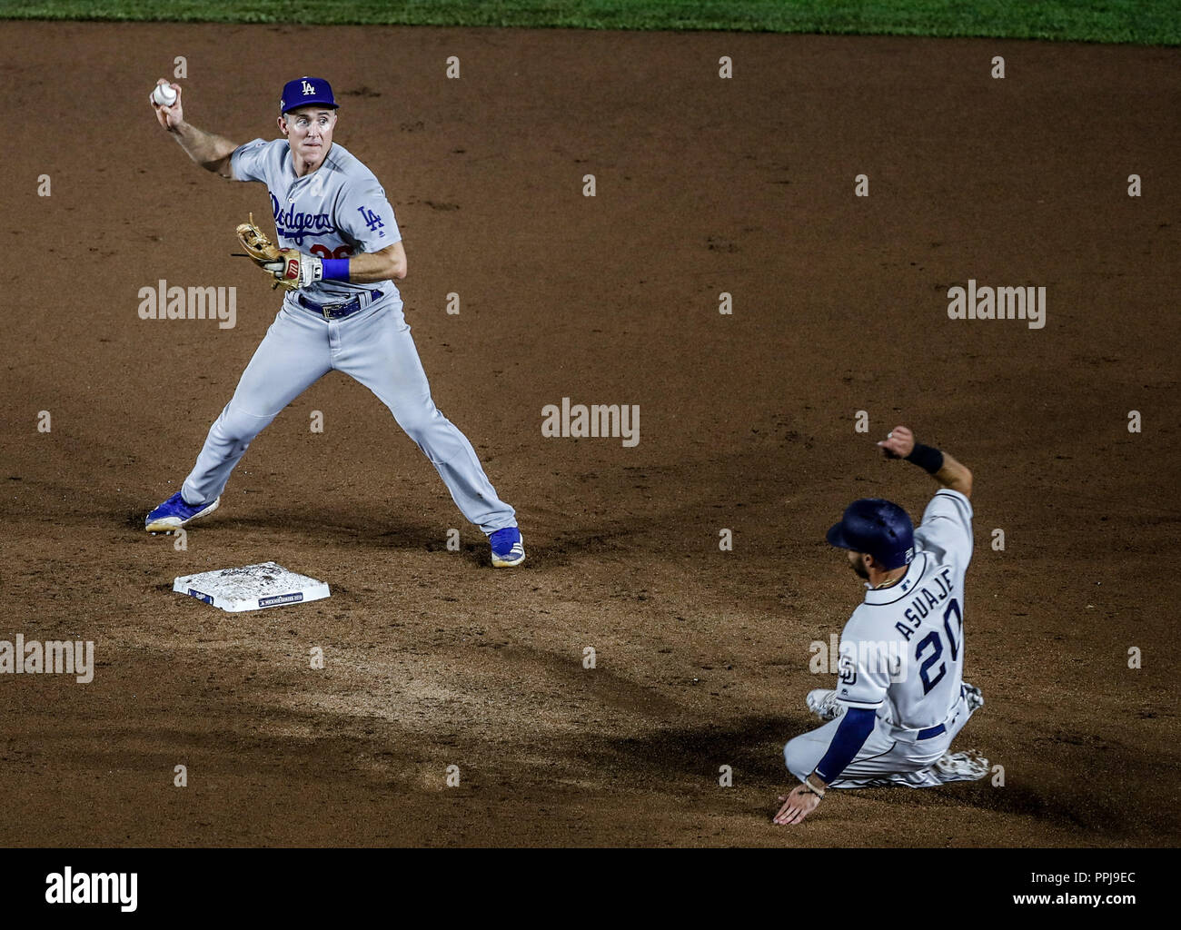 Chase Utley. And Carlos Asuaje .  Baseball action during the Los Angeles Dodgers game against San Diego Padres, the second game of the Major League Ba - Stock Image