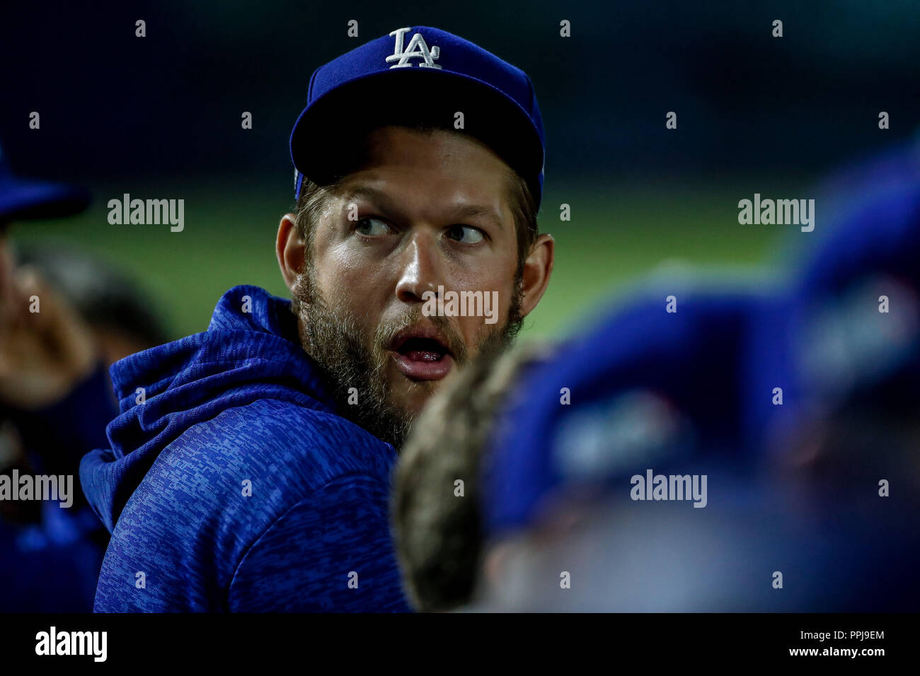 Clayton Kershaw.  Baseball action during the Los Angeles Dodgers game against San Diego Padres, the second game of the Major League Baseball Series in - Stock Image