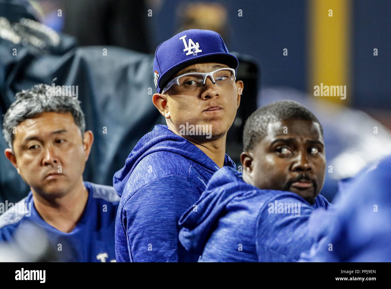 Julio Urias. Baseball action during the Los Angeles Dodgers game against San Diego Padres, the second game of the Major League Baseball Series in Mexi - Stock Image