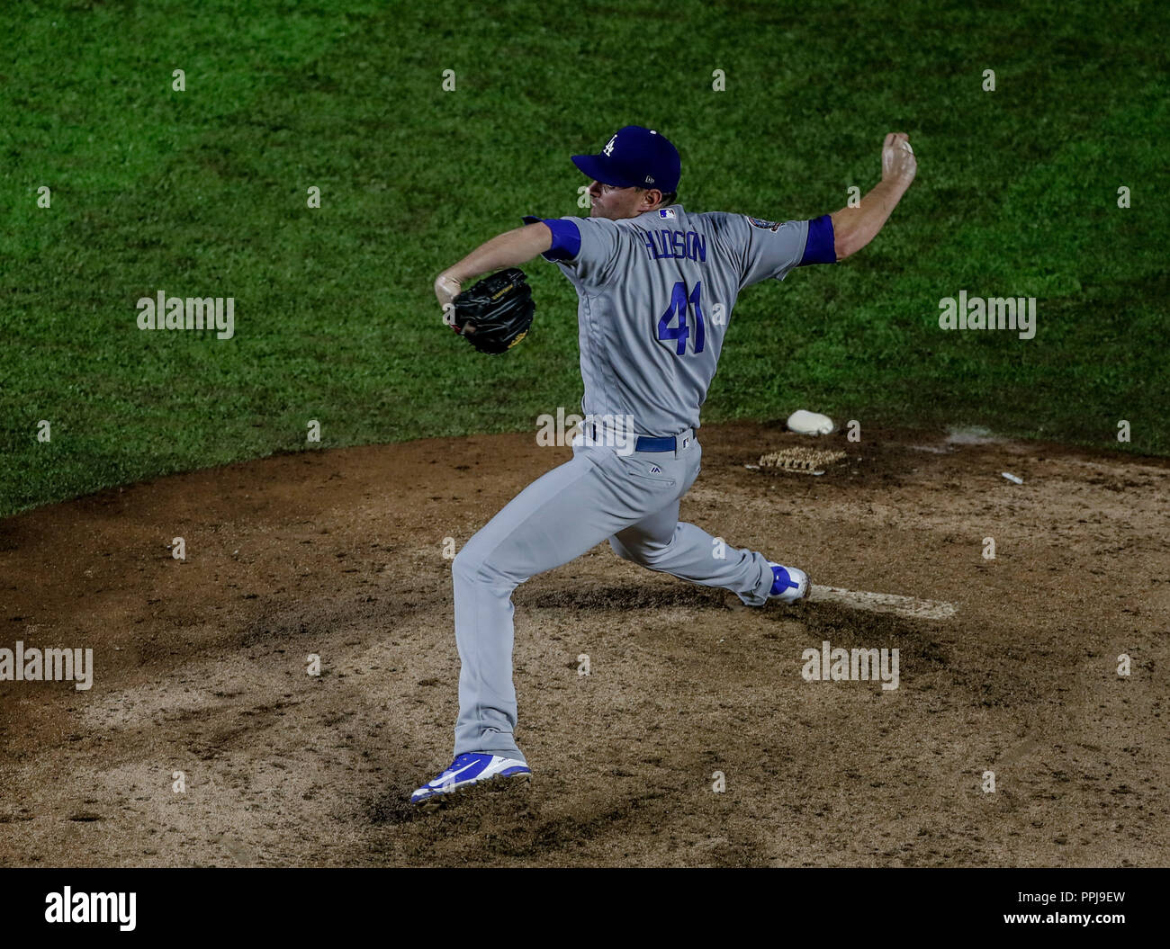 Daniel Hudson .  Baseball action during the Los Angeles Dodgers game against San Diego Padres, the second game of the Major League Baseball Series in  - Stock Image