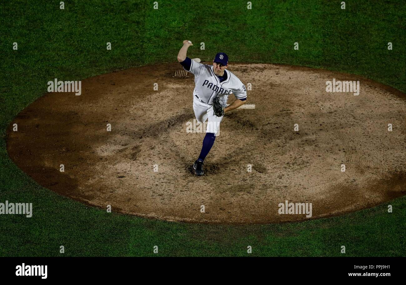Craig Stammen .  Baseball action during the Los Angeles Dodgers game against San Diego Padres, the second game of the Major League Baseball Series in  Stock Photo