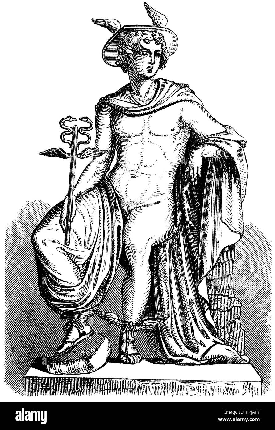 Hermes, god of traffic, travelers, merchants and shepherds. After a Pompeian mural, anonym  1867 - Stock Image