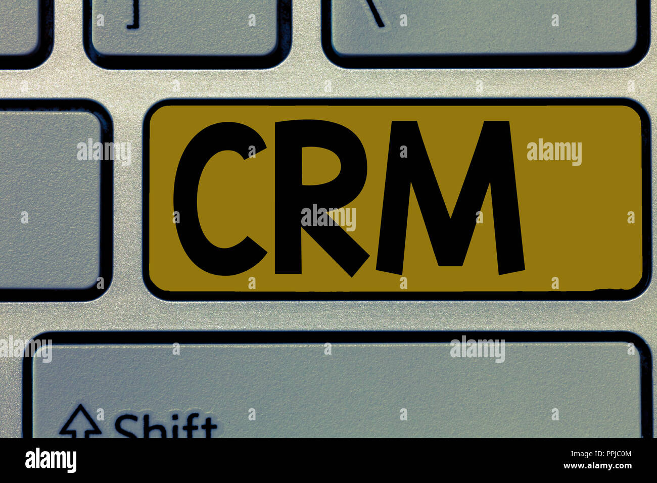 Handwriting text Crm. Concept meaning Strategy for managing the Affiliation Interactions of an organization. - Stock Image