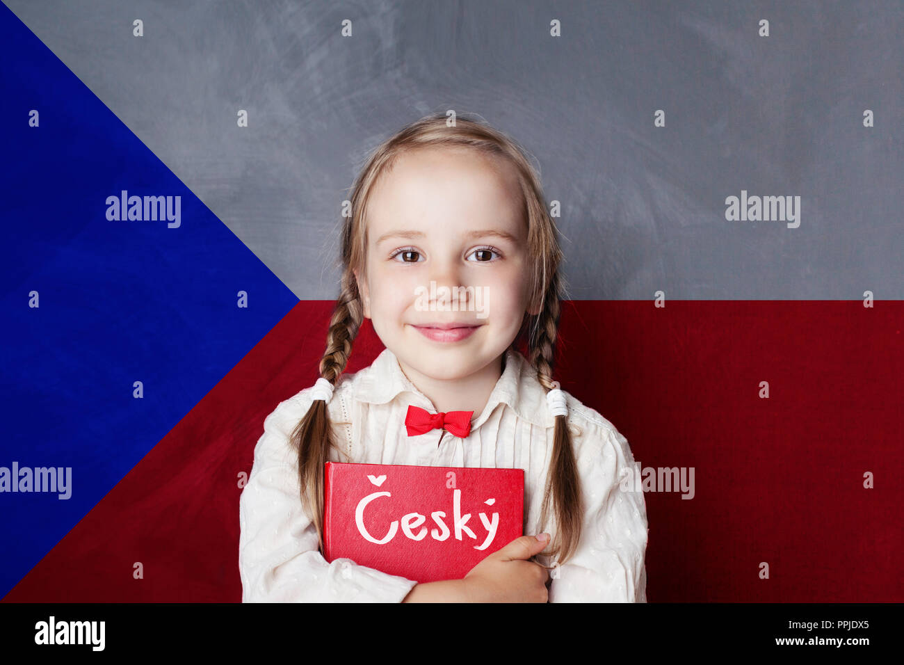 Czech concept with little girl student with book against the Czech flag background. Learn language - Stock Image