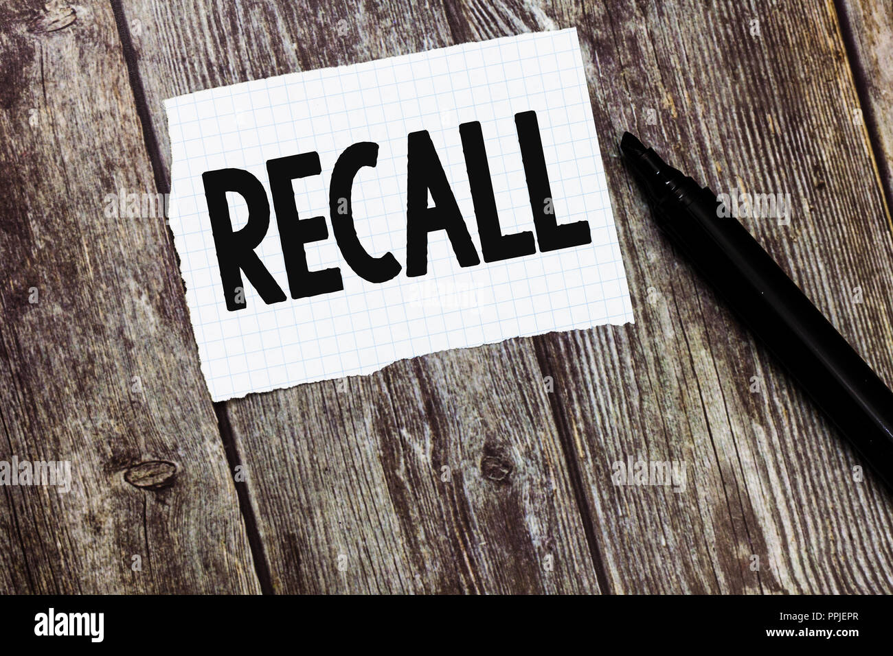 Text sign showing Recall. Conceptual photo bring fact event or situation back into ones mind Remember Something. - Stock Image