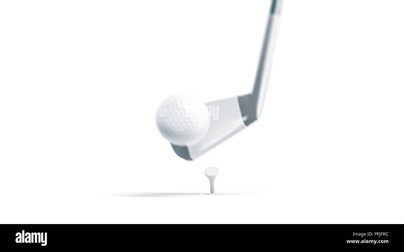 Blank white golf ball on stick mockup, swing hit, motion blur, 3d rendering. Empty sport sphere punch mock up, isolated. Clean bal at the moment of impact. Golfing equipment template. - Stock Image