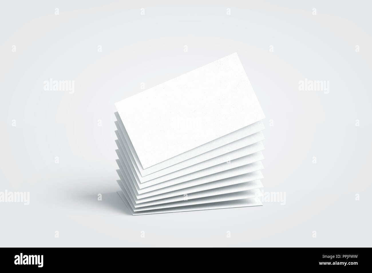 Blank white calling business cards stack mockup, no gravity, 3d rendering. Empty bussiness papers mock up. Clear namecard pile template. Visiting papersheet for for company name, phone number, email address. - Stock Image