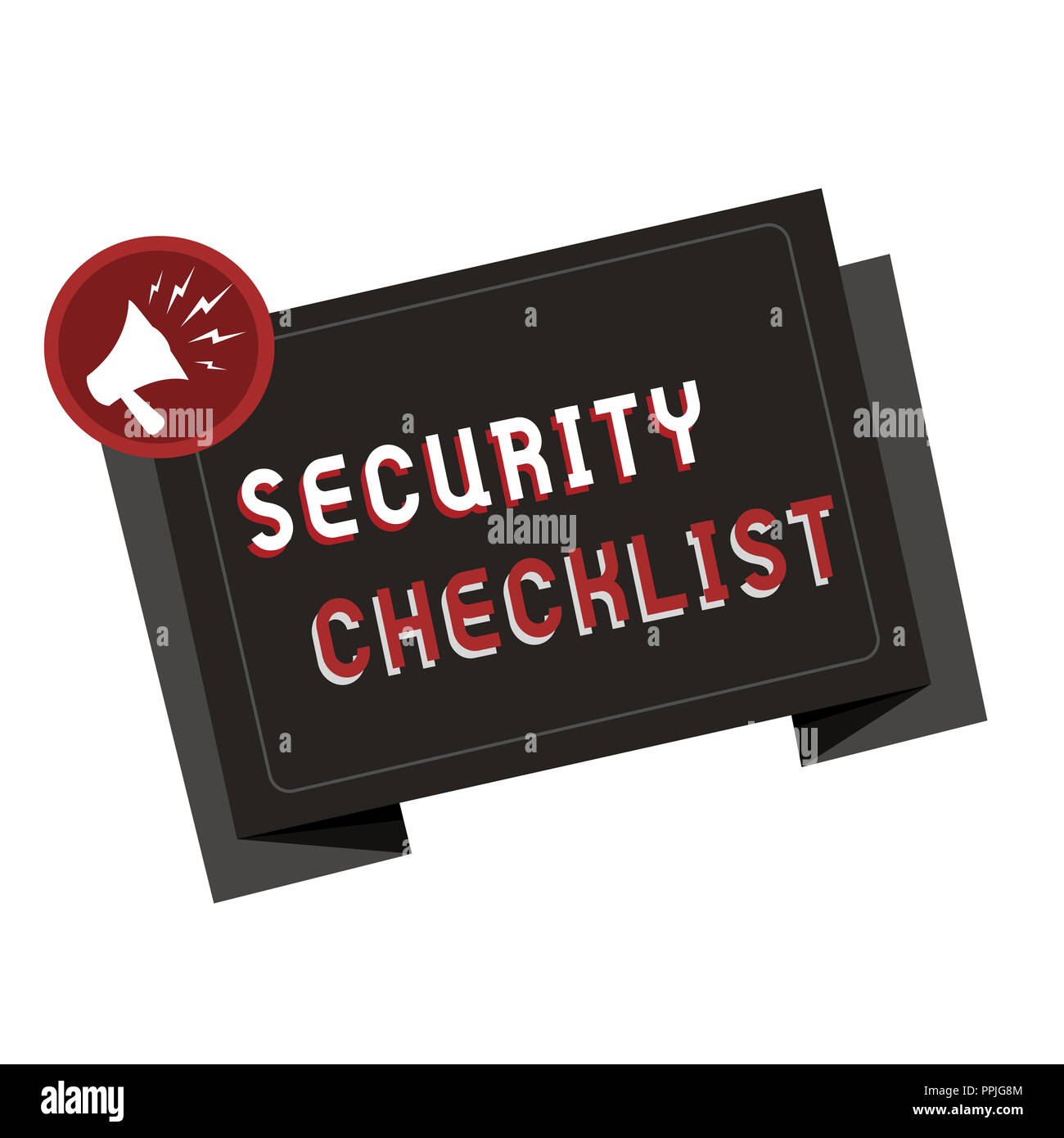 Text sign showing Security Checklist. Conceptual photo Protection of Data and System Guide on Internet Theft. - Stock Image