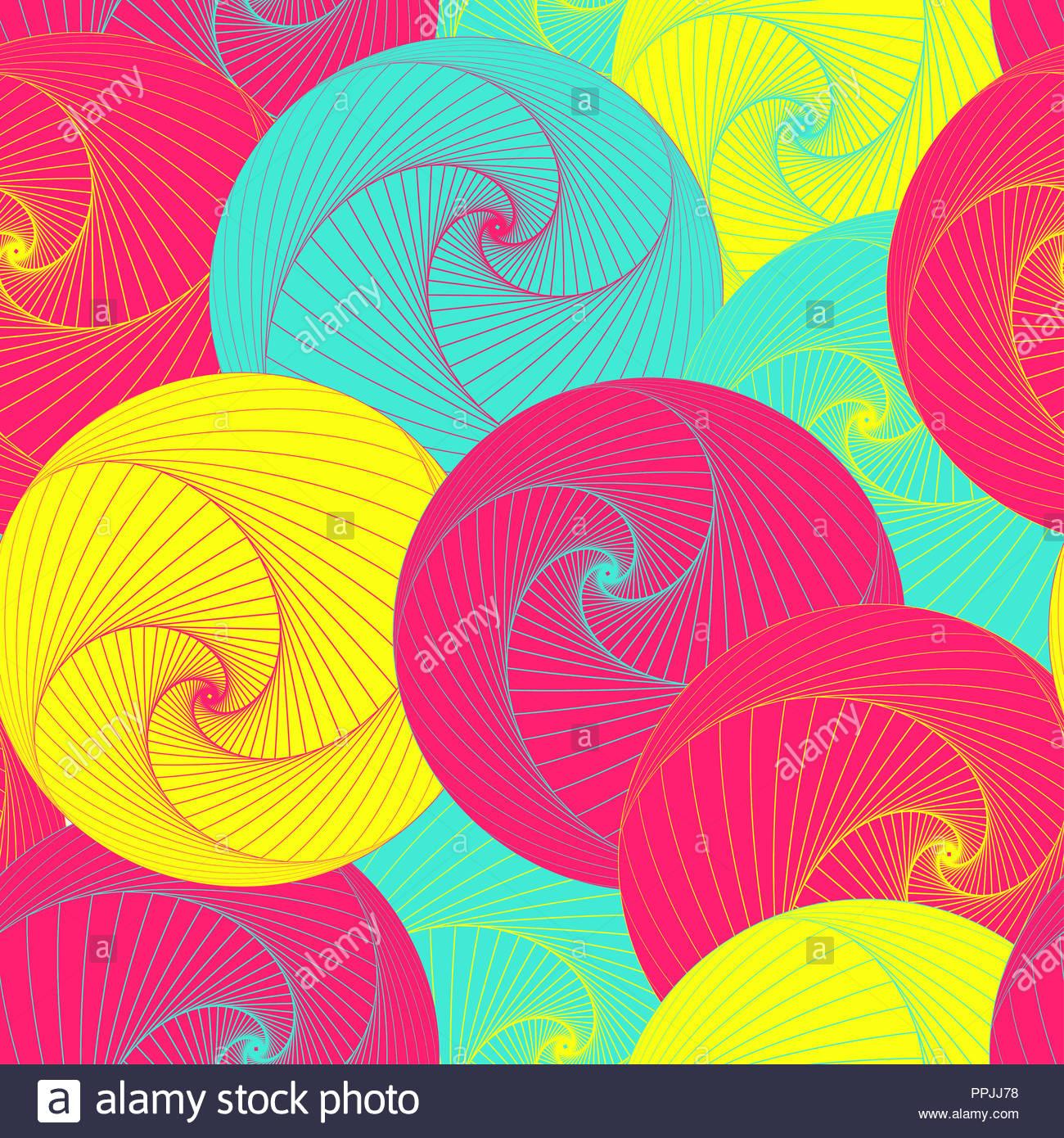 graphic vortex balls seamless pattern in pop shades - Stock Image
