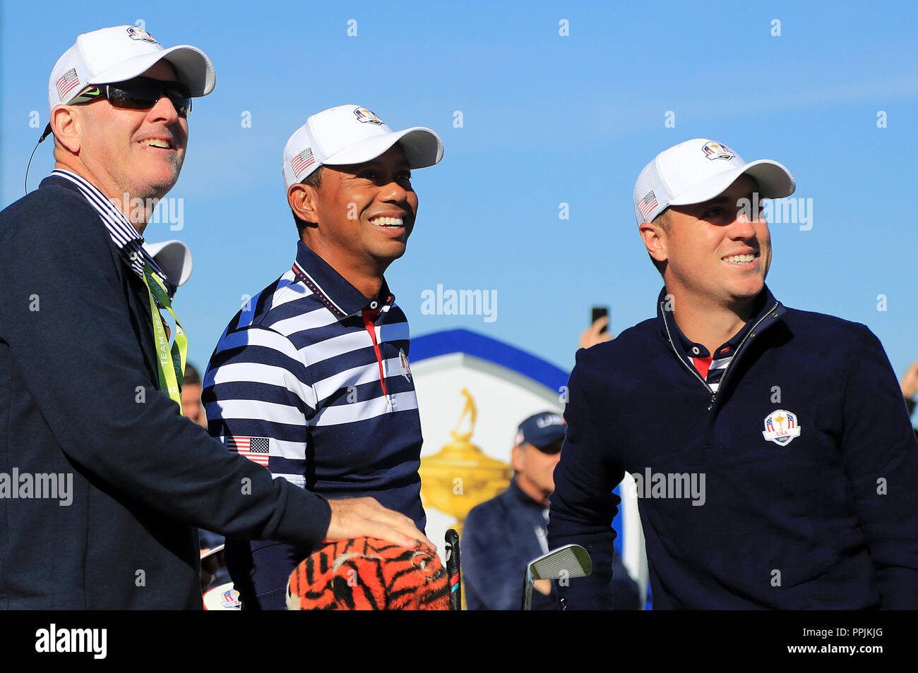 Usas Tiger Woods Centre And Justin Thomas Right During Preview