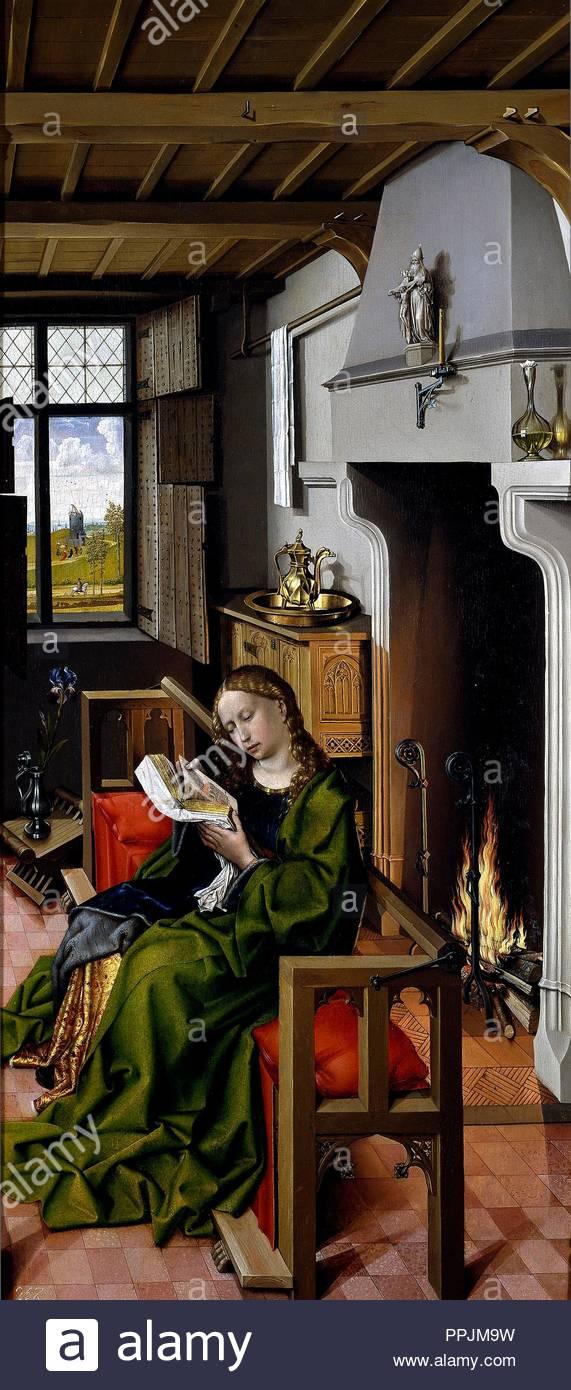 Robert Campin / 'Saint Barbara', 1438, Flemish School, Oil on panel, 101 cm x 47 cm, P01514. Museum: MUSEO DEL PRADO. - Stock Image
