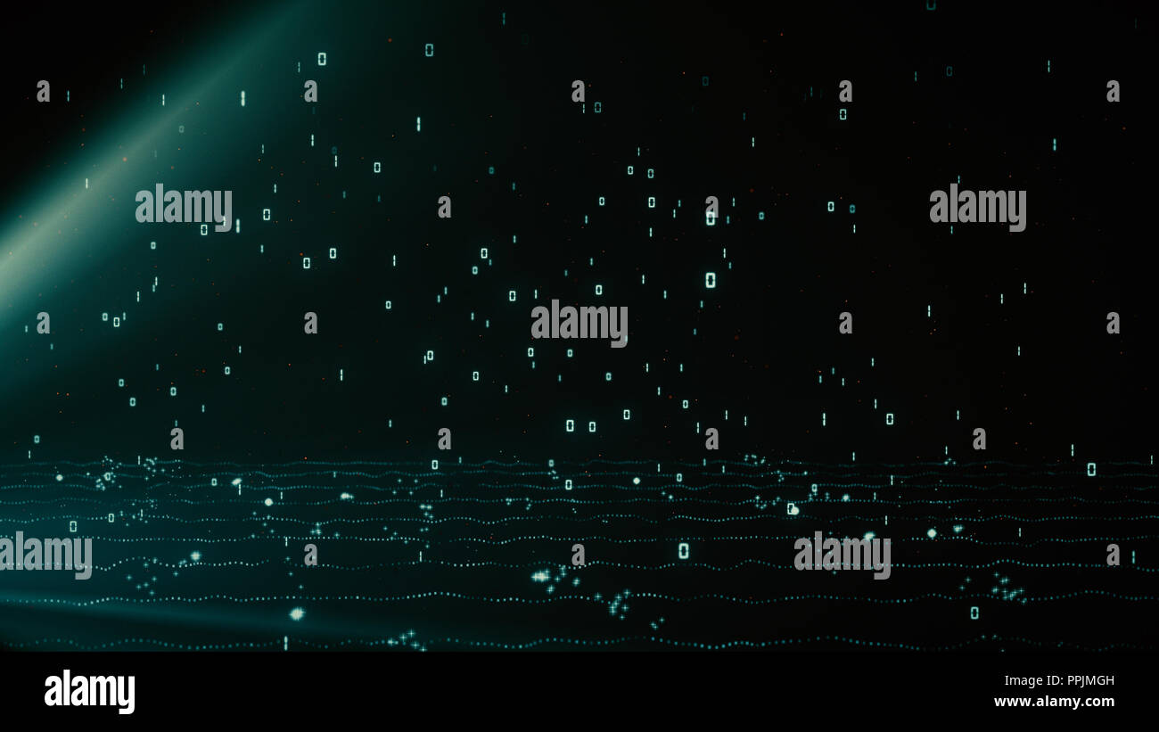 Bright blue glowing particles with binary data of 1 and 0 rain - Stock Image