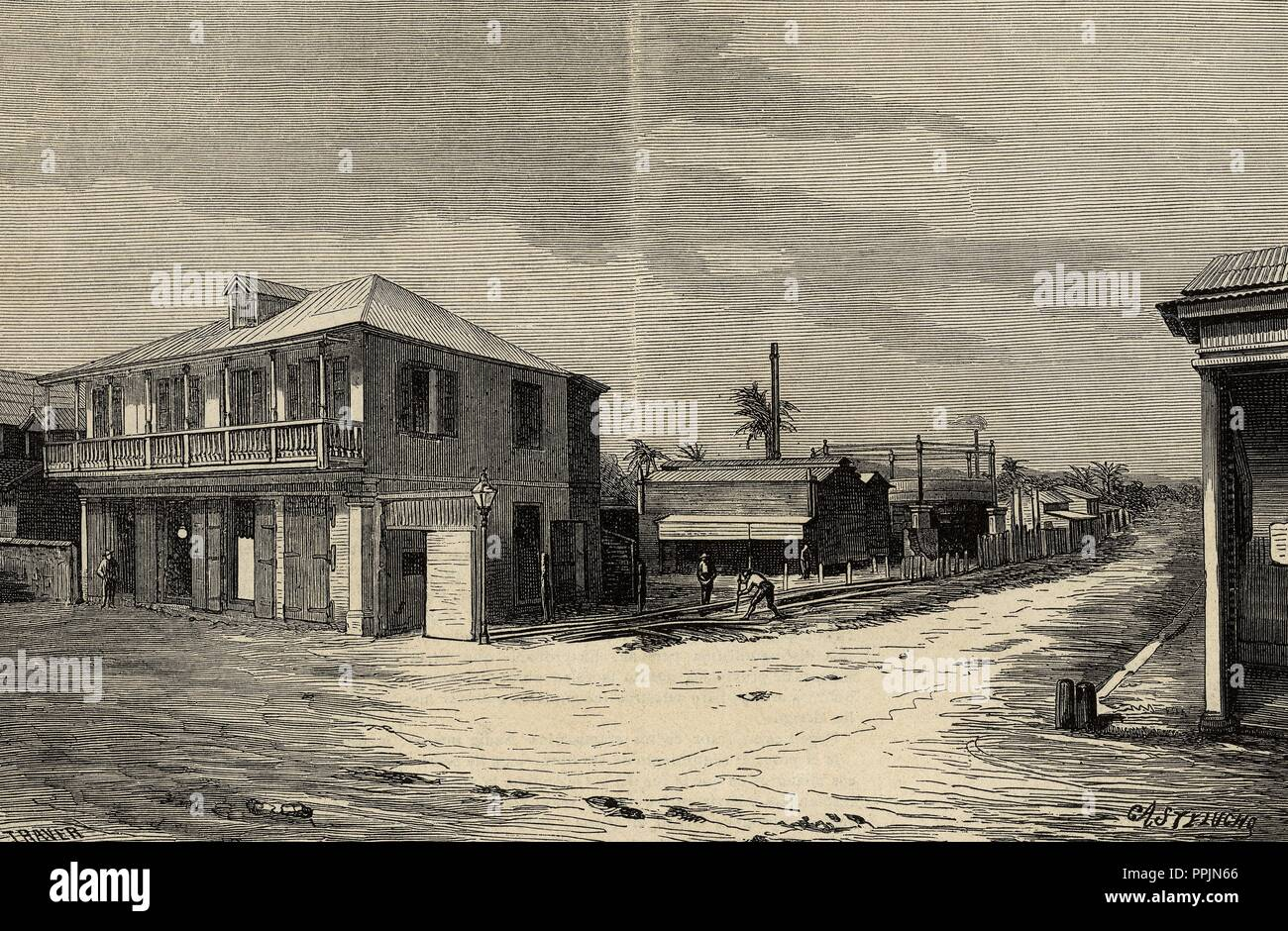 Puerto Rico. Mayaquez city. Gasometer and offices. Engraving by Traver 'La Ilustracion Espanola y Americana', 1878. - Stock Image
