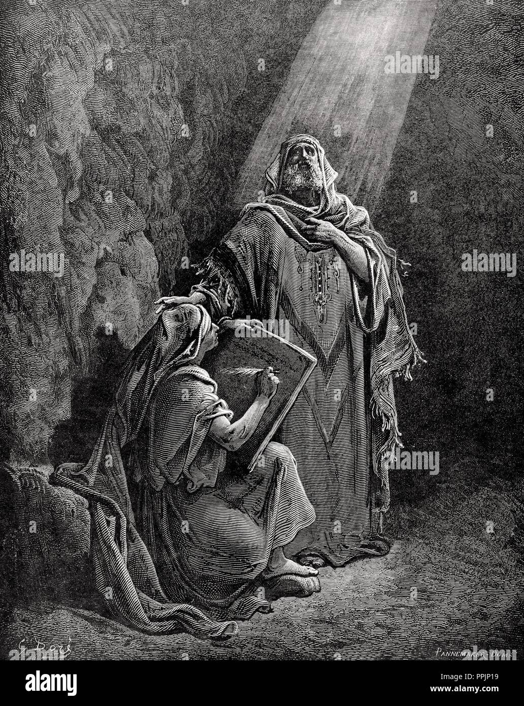 Jeremiah (650-585 BC). Hebrew Prophet. Jeremiah dictating his prophecies to Baruch. Engraving by Pannemaker. The Bible in pictures by Gustave Dore. Stock Photo