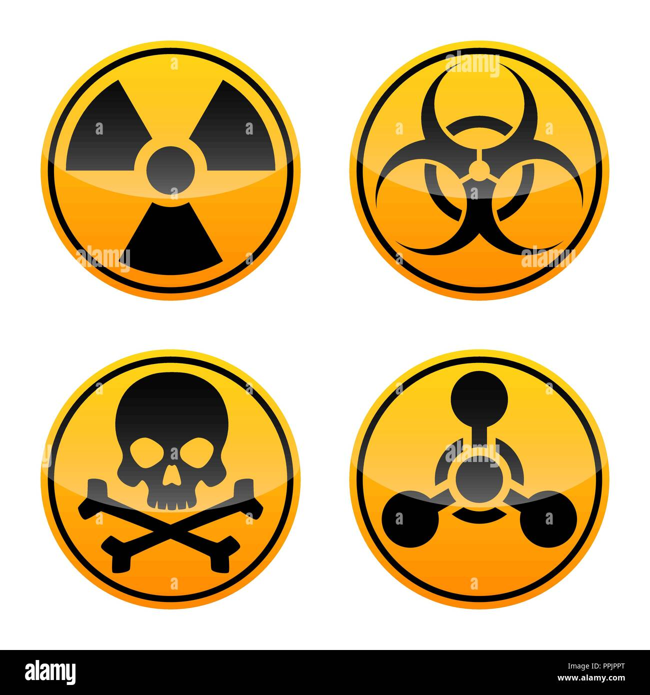 Danger vector signs set. Radiation, Biohazard ,Toxic and Chemical Weapons signs. Warning signs - Stock Vector