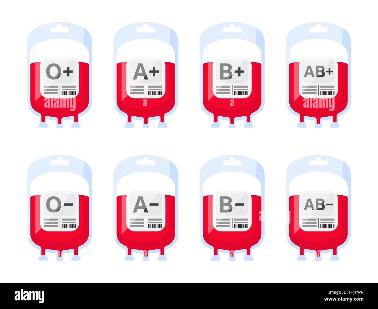 Blood bags with blood types vector illustration. Blood group vector icons isolated on white background. Blood donation vector illustration. - Stock Image