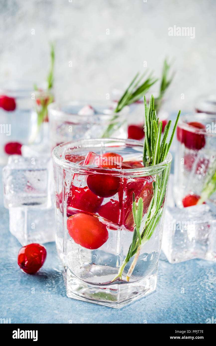 Christmas or New Year winter cranberry cocktail with rosemary, liqueur, gin tonic, on light blue concrete background with ice cubes, fresh berries and Stock Photo