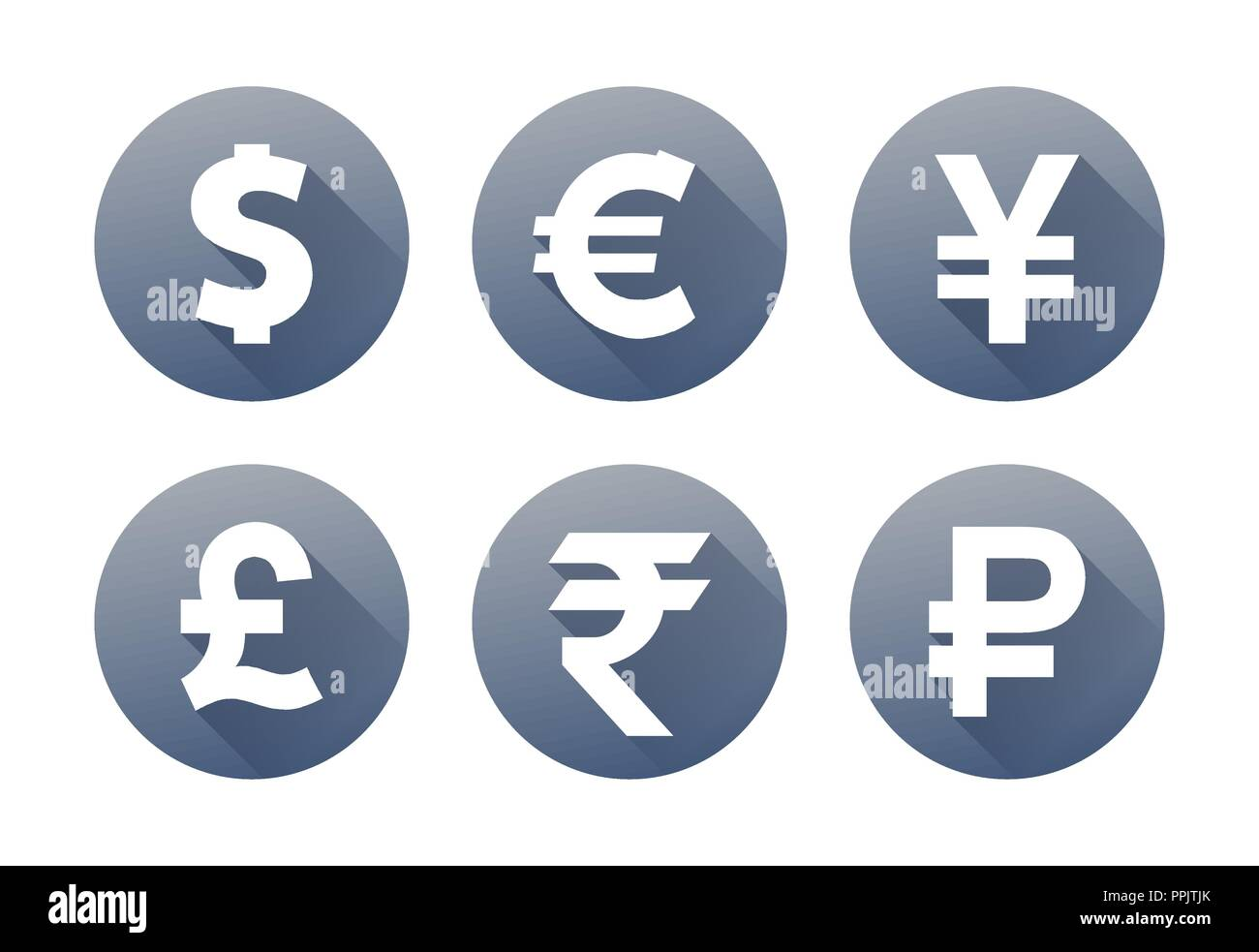 Currency Flat Vector Symbol Set Icons With Images Of Currencies