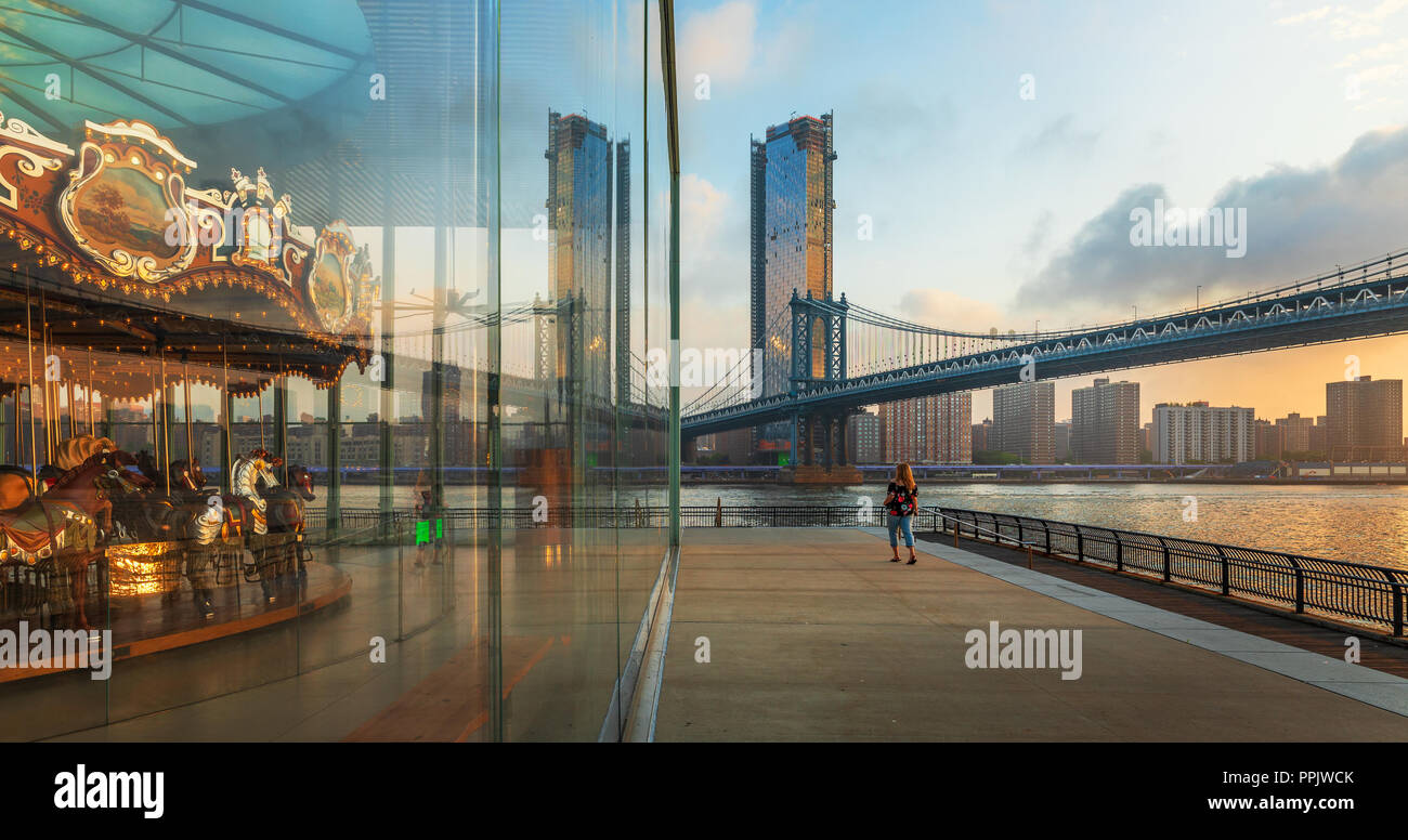 Jane's Carousel in Dumbo near Brooklyn Bridge, New York - Stock Image