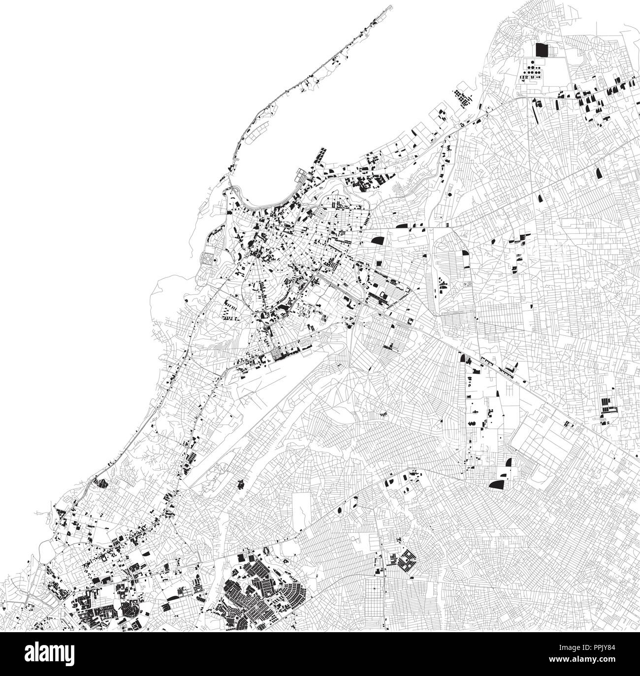 Map of Luanda, satellite view, black and white map. Street directory and city map. Angola. Africa - Stock Image