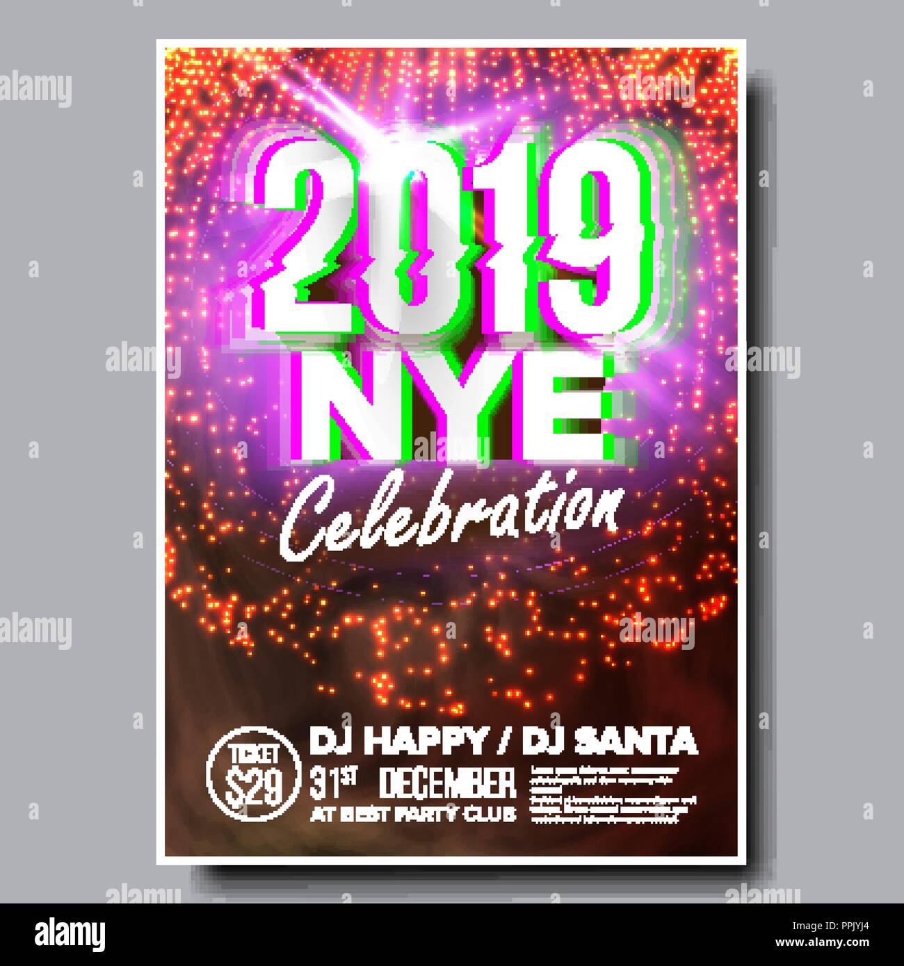 2019 party flyer poster vector happy new year holiday invitation christmas disco light design illustration